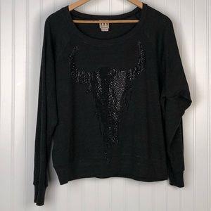 Haute Hippie Black Skull Sweatshirt Size XS/S